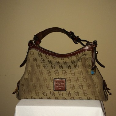 Brown Monogrammed Dooney and Bourke - front