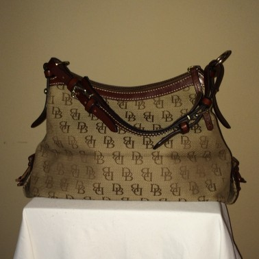 Brown Monogrammed Dooney and Bourke - rear