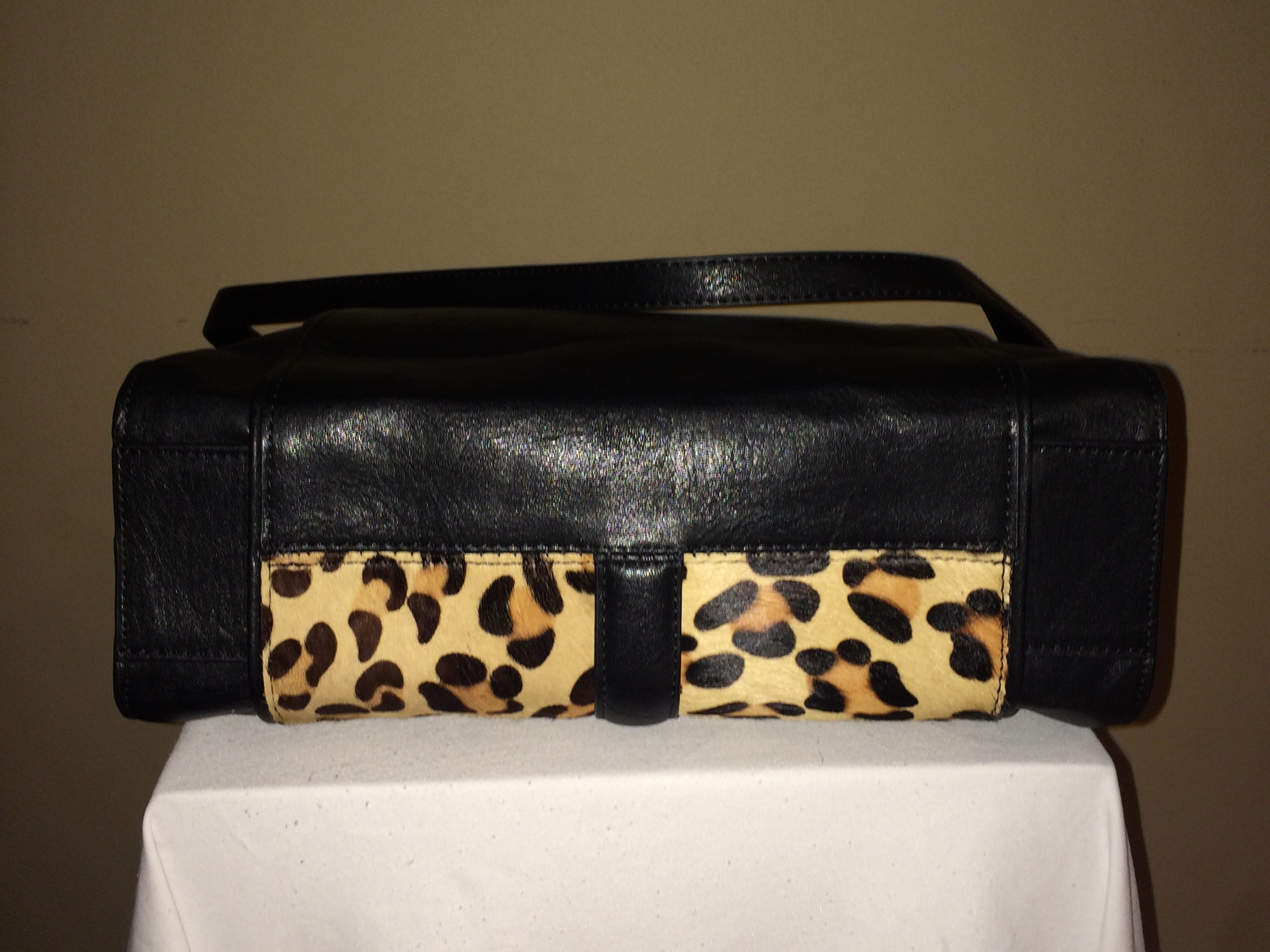 Leopard/Black Zara Tote - bottom
