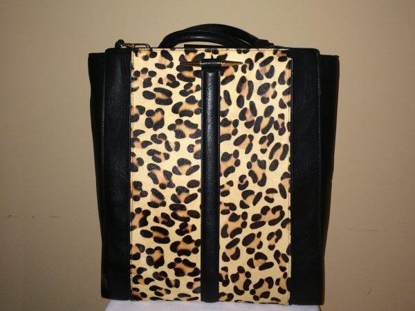 Leopard/Black Zara Tote - front