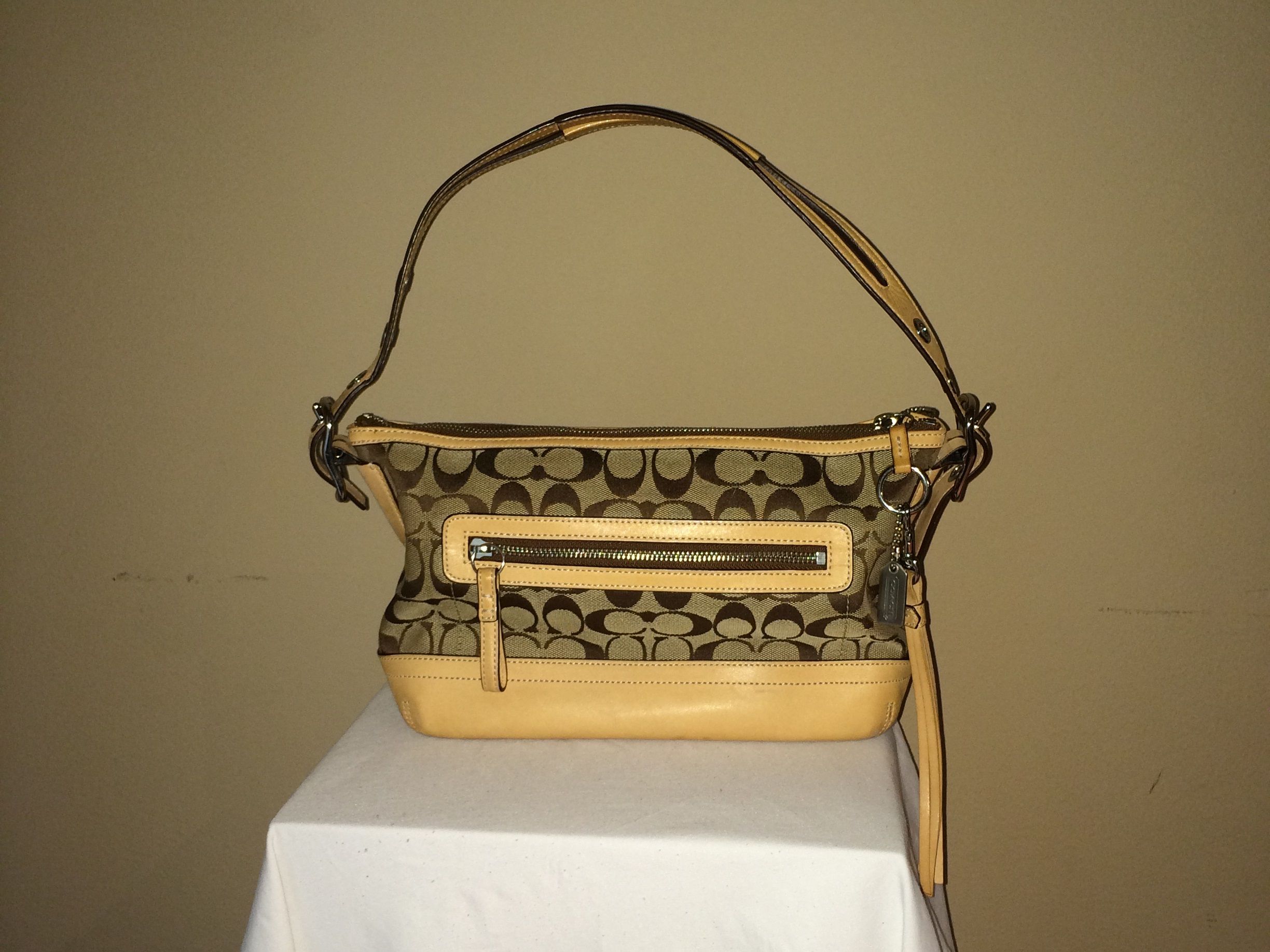 Tan Monogrammed Coach - rear